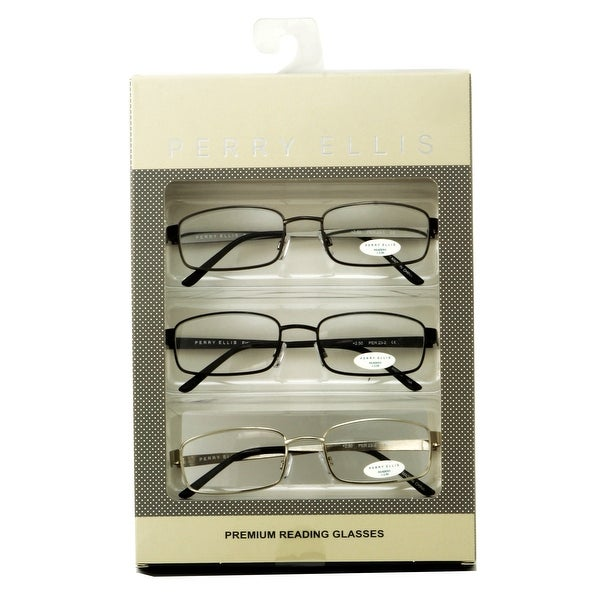 1a230b9534f Perry Ellis Mens 3 Multi Pack Metal Reading Glasses +1.5 Grey Black Silver