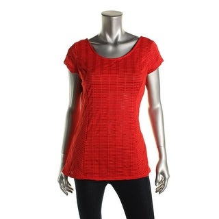 Guess Womens Shutter Stitch Cap Sleeves Casual Top