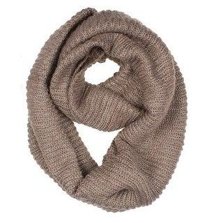 Women's Neck Wrap Warmer Knit Metallic Infinity Loop Scarf - Khaki