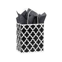 "Pack Of 250, Cub 8 x 4.75 x 10.25"" Black Geo Graphics Recycled Paper Shopping Bag W/White Paper Twist Handles"