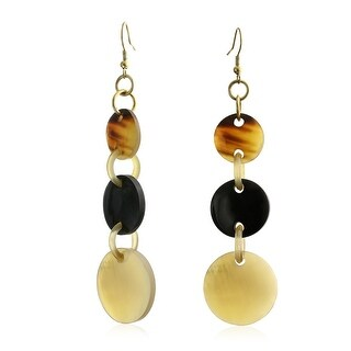 Natural Buffalo Horn Round Dangle Drop Gold Plated Fish Hook Earrings