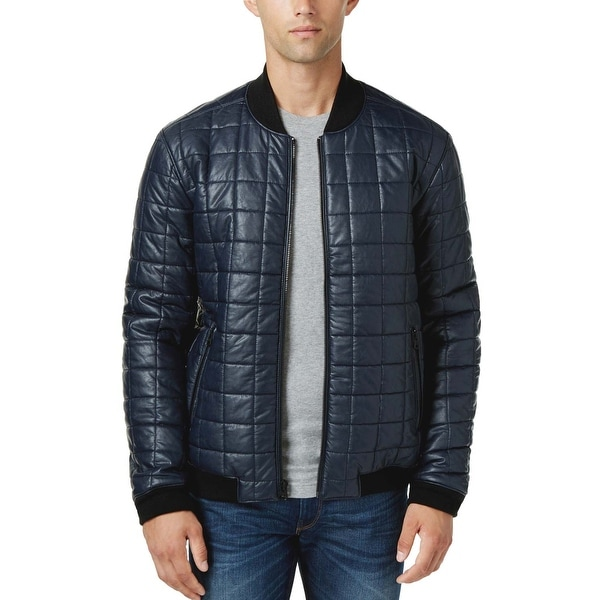 Levi's Navy Blue Faux Leather Quilted Bomber Jacket Small S