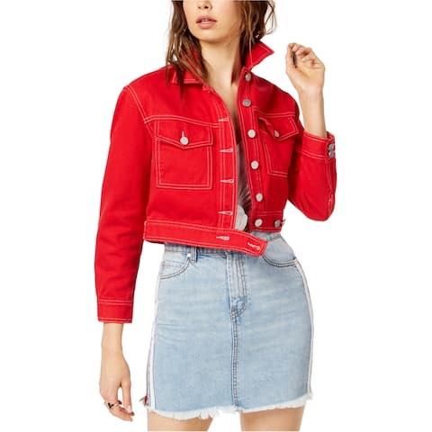 Kendall Kylie Womens Denim Cropped Jacket, Red, Large