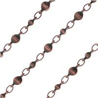 Antiqued Copper Plated Bulk Chain, 7 & 3mm Moroccan Links, Sold By The Foot