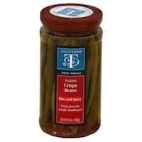 Tillen Farms Hot and Spicy Crispy Pickled Beans, 12 Oz  (Pack of 6)