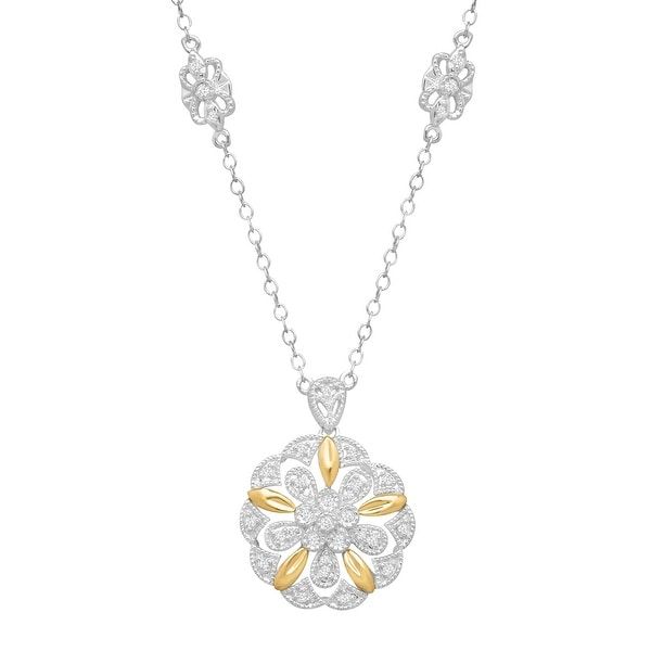 1/5 ct Diamond Filigree Flower Pendant in Sterling Silver & 14K Gold