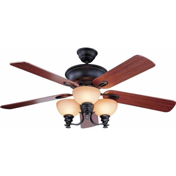 """Volume Lighting V4155 Rainier 5 Blade 52"""" Indoor Ceiling Fan with Light Kit - foundry bronze"""