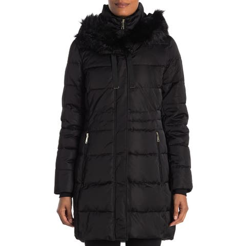 T Tahari Women's Stefani Fitted Puffer Coat, Black
