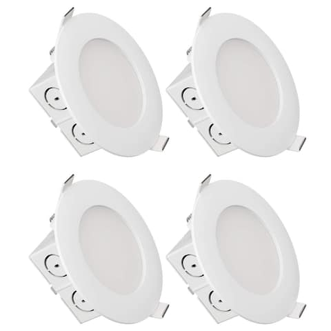 4 inch Slim Recessed Ceiling Light with Junction Box, 3000K Warm White - 8PACK