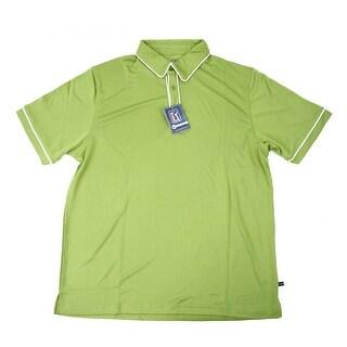 PGA TOUR Men's Polo Shirt - Green w/ White Trim - Large