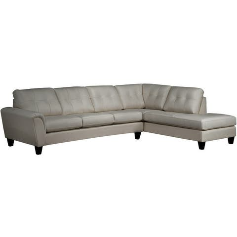 Tory Top Grain Leather Tufted Left/ Right-facing Sectional Sofa