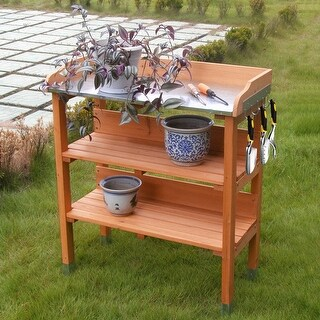 Costway Garden Wooden Potting Bench Work Station Table Tool Storage Shelf W/Hook