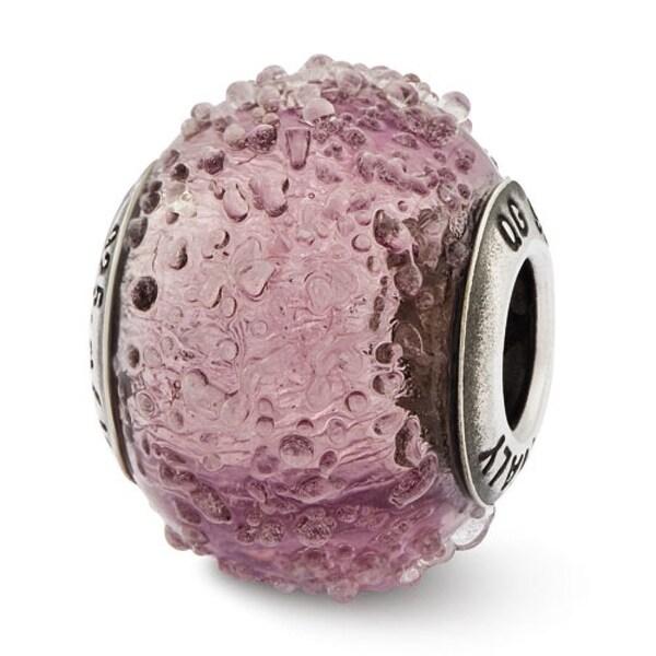 Italian Sterling Silver Reflections Light Purple Textured Glass Bead (4mm Diameter Hole)