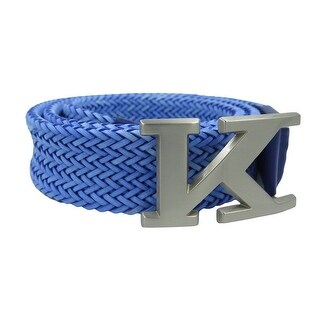 Kiton Men's Blue Braided Leather Logo Belt
