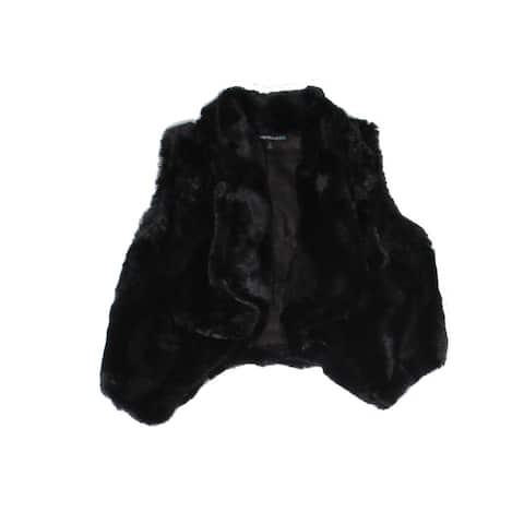 My Michelle Girl's Outwear Black Size 12 Faux Fur Open Front Vest