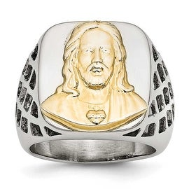 Chisel Stainless Steel Yellow IP-plated Jesus Polished Ring (18 mm)