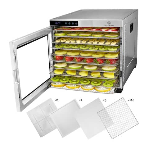 """ChefWave Secco Pro Food Dehydrator with Drying Racks (Stainless Steel) - 17"""" x 15.5' x 21.2"""""""