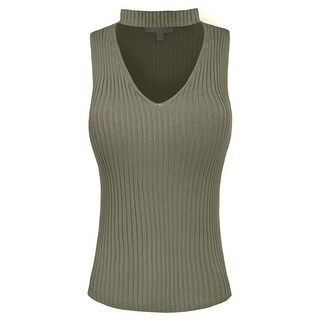 NE PEOPLE Womens Simple Sleeveless Choker V-Neck Knit Top-NEWT353