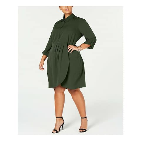 LOVE SQUARED Green 3/4 Sleeve Above The Knee Dress 1X