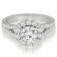 1.45 cttw. 14K White Gold Halo Split-Shank Diamond Engagement Ring