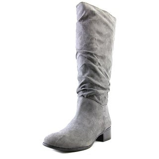 Madden Girl Persiss Women Round Toe Canvas Gray Knee High Boot