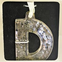 "4"" Antique-Style Speckled Glass Monogram Letter ""D"" Christmas Ornament - silver"