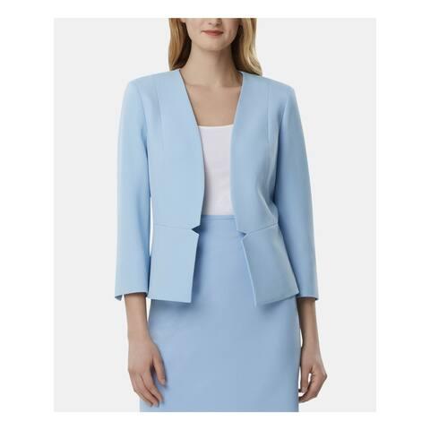 TAHARI Womens Light Blue Blazer Wear To Work Jacket Size 14