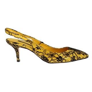 Dolce & Gabbana Yellow Leather Black Lace Slingbacks Shoes - 37
