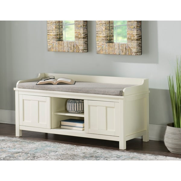Linon Edison Lakeville White Metal/Wood Cushioned Storage Bench. Opens flyout.