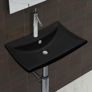 vidaXL Black Luxury Ceramic Basin Rectangular with Overflow&Faucet Hole