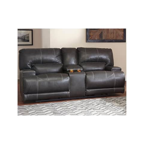 McCaskill Gray Power Reclining Loveseat with Console
