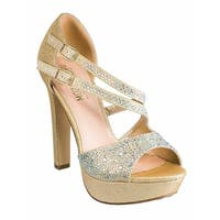 De Blossom Collection Adult Nude Pearl Suede Crystal Pumps