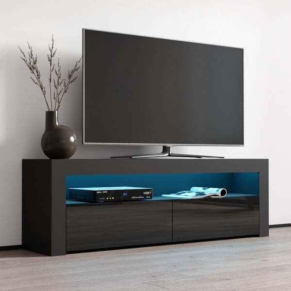 Milano Classic Modern 16 color 63-inch TV Stand. Opens flyout.