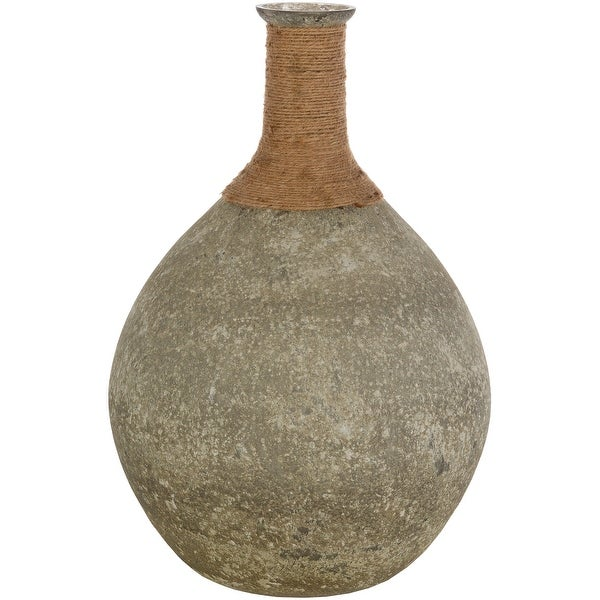 """19.5"""" Graphite Gray and Tan Brown Country Rustic Vase - N/A"""