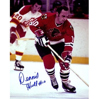 Dennis Hull Signed Blackhawks Action 8x10 Photo