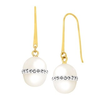 Crystaluxe 8 mm Freshwater Pearl Drop Earrings with Swarovski elements Crystals in 10K Gold