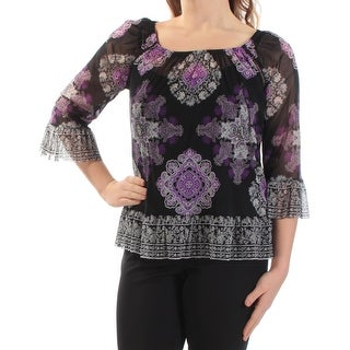 Womens Black Purple Damask 3/4 Sleeve Square Neck Wear To Work Top Size M