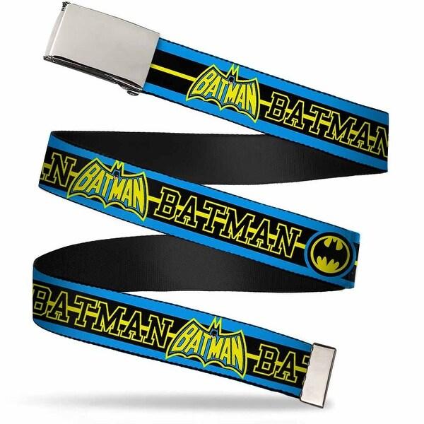 Blank Chrome Buckle Batman Retro Logos Stripe Blue Black Yellow Web Belt