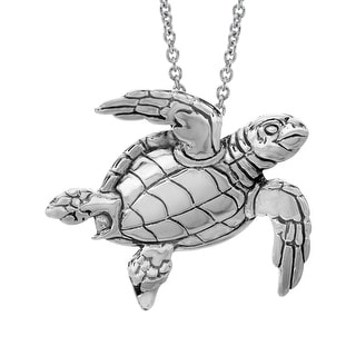 Kabana Large Sea Turtle Pendant in Sterling Silver - White