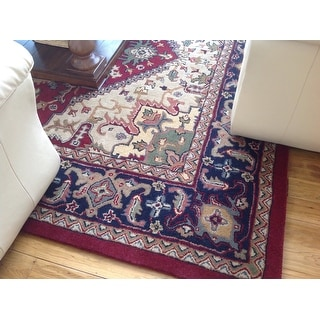 Safavieh Handmade Heritage Traditional Heriz Red/ Navy Wool Rug (8'3 x 11')