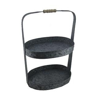 2 Tier Galvanized Metal Oval Tray w/Wood Handle