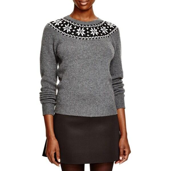 Aqua Womens Pullover Sweater Cashmere Fair Isle