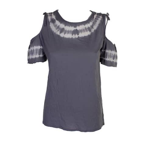 Project Social T Grey White Tie-Dye Cold-Shoulder T-Shirt M