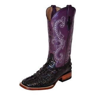 Ferrini Western Boots Womens Hornback Caiman Black Purple