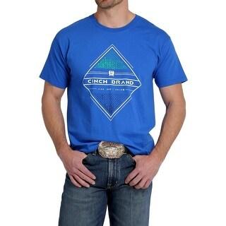 Cinch Western Shirt Mens Short Sleeve Tee Crew Neck Royal