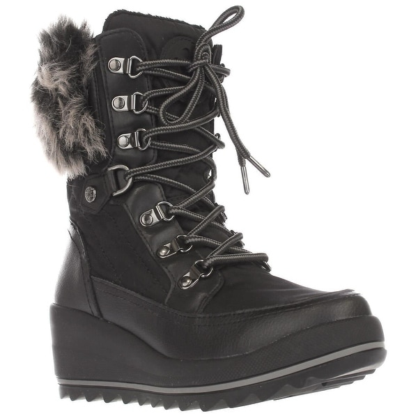 GUESS Leland Lace-Up Wedge Winter Boots, Black