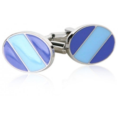 Blue Times Two Striped Cufflinks