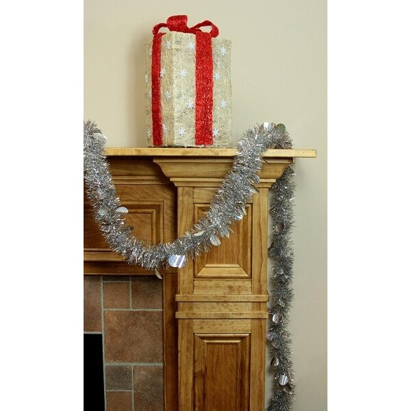 50' Festive Silver Christmas Tinsel Garland with Holographic Polka Dots - Unlit - 5 Ply (Pack of 3)