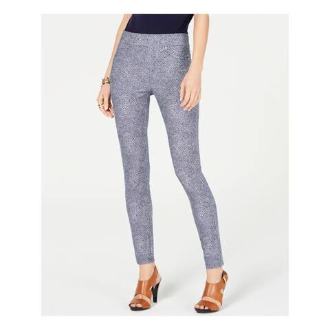 MICHAEL KORS Womens Blue Printed Skinny Pants Size XXL
