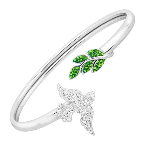 Crystaluxe Dove & Leaves Cuff Bracelet with Swarovski Crystals in Rhodium-Plated Sterling Silver - White